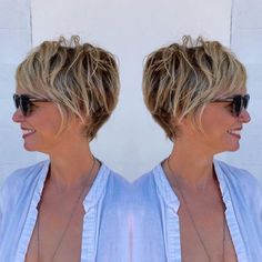 Brown+Pixie+Bob+With+Blonde+Highlights