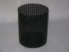 Mid Century Modern black metal waste basket small trash can geometric design