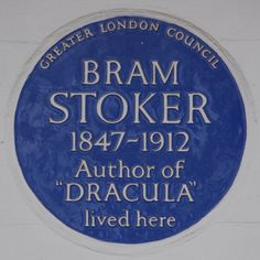 Bram Stoker's blue plaque at 18 St Leonard's Terrace, Chelsea, London.- can do a mock of this for the penguin
