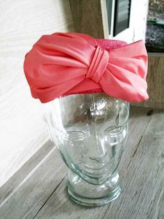 Pink Pillbox Hat with Bow.