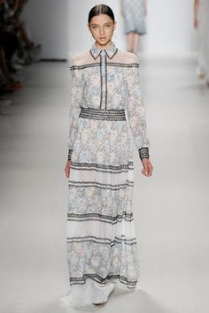 Tadashi Shoji- Classically beautiful lace dresses and maxi shirt dresses infused with contemporary elements such as crop tops and illusions that give the silhouettes  modern edge. Share what you think on thestyleweaver.com ! New York Fashion Week Spring 2015