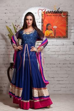 Stunning royal blue and magenta outfit with slight bronze and gold floral works. Outfit by Mansha