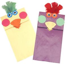 paper bag puppet birds