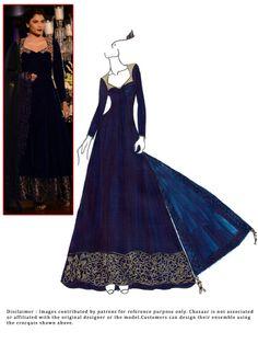 DIY #Blue #FloorLength #Anarkali #Suit