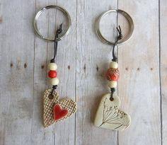Keramik Herz Keychain Ton Herz Keramik Herz von potteryhearts