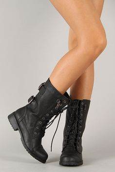 Zipper Round Toe Military Lace Up Boot High Heel Boots, Shoe Boots, Women's Shoes, Grunge Boots, Military Combat Boots, Indie Outfits, Rocker Chic, Mid Calf Boots, Clothes Horse