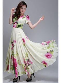 #New #Cream Georgette Printed Designer #Western_Dress#Latest #beautiful