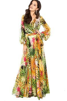 xs - xxl summer flower print chiffon long-sleeved dress women floral chiffon maxi dress haoduoyi free shipping $23.81