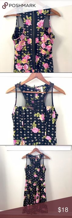 Floral Skater Dress Cute and flirty, this extremely comfortable skater dress is made of cotton with mesh detail and easy zip closure, NWOT. Length from shoulder to hem = 34 inches Dresses