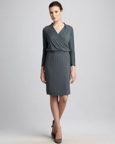 Crisscross Drape-Neck Dress by White + Warren at Neiman Marcus Last Call.