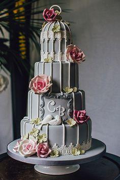 Grey Birdcage wedding cake.