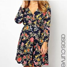 d17a50d5d47 Asos Navy floral long sleeve dress