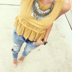 Love this beautiful yellow shirt and jeans & some nude heels