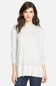 Chelsea28 Pleated Hem Sweater | Nordstrom Color: Grey Lt Heather - White Vapor Size: small Price: $88