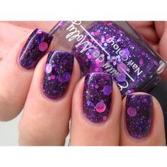 """Nail polish """"Cosmic Forces"""" holographic dot glitter in a dark purple... ($9.28) ❤ liked on Polyvore"""