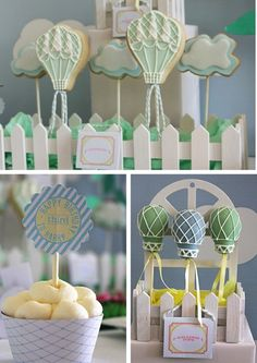 Hot air balloon cake pops and cookie pops.