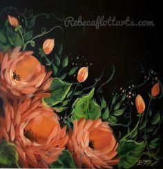 Flowers In Vase Painting, Easy Flower Painting, Acrylic Painting Flowers, Easy Canvas Painting, Simple Acrylic Paintings, Abstract Flowers, Painted Flowers, Simple Watercolor Flowers, Watercolor Rose