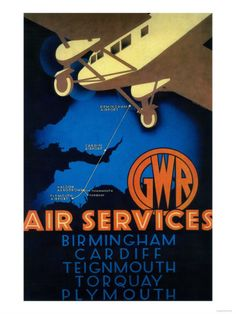 GWR Air Services Vintage Poster - Europe Premium Poster