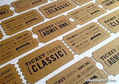 Ticket Shaped business cards on brown kraft card stock. Designed and printed by #jukeboxprint
