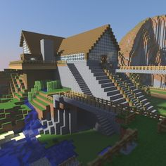 Large glass-walled Minecraft house