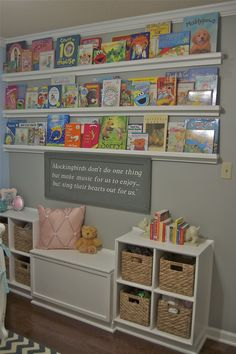 Book wall in a nursery