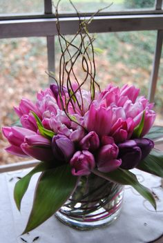 tulips, curly willow, table centerpiece