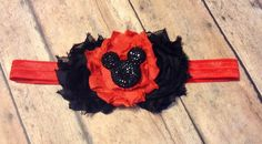 Red and black Minnie mouse headband on elastic ( foe) baby girl $4