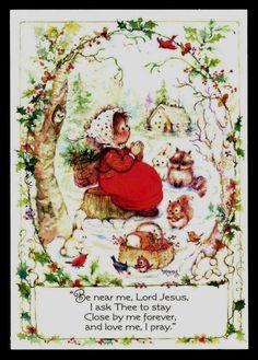 484-GC Mary Hamilton RABBIT & SQUIRREL Vintage Christmas Glitter Greeting Card