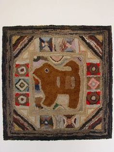 Hooked Rug with Dog, 1890-1915, near Hagerstown, MD, seen at Olde Hope Antiques