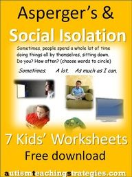 seven illustrated worksheets to help children with Aspergers and other autism spectrum disorders to explore the issue of isolation and possible solutions.  Included is a link to another free download, a social isolation card game. Repinned by  SOS Inc. Resources.  Follow all our boards at pinterest.com/...  for therapy resources.