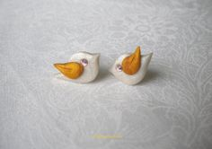 Christmas Dove earrings  elegant polymer clay by BaytreeBoutique