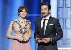 Felicity Jones and Diego Luna at an event for The 74th Golden Globe Awards