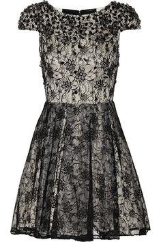 Alice & Olivia Embellished Lace Dress