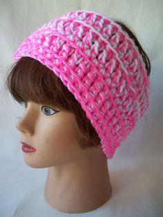 Pink & White Headband Chunky Crochet by KarensCrochetCottage