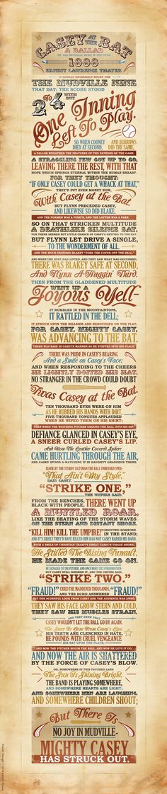 Casey at the Bat Typography Poster. Wow. For once, I have to say all those fonts and cliparts just work. It's just... wow.