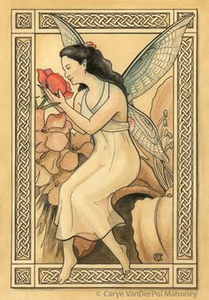 Fairy with green wings in a garden smelling a by CaryeVDPMahoney, $35.00