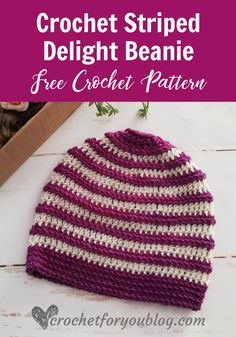 I'm so excited to share this Striped Delight Beanie Pattern with you all. This pattern feature very basic crochet stitches and crochet in the loop. If you know how to crochet in the loop, the pattern can be finished in an hour. Basic Crochet Stitches, Crochet Basics, Easy Crochet Patterns, Hat Patterns, Crochet Ideas, Crochet For Boys, Crochet Baby, Free Crochet, Crochet Crown