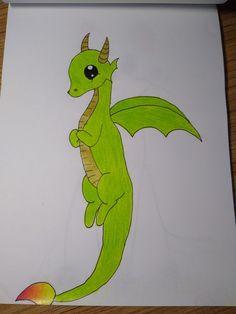 Easy pencil drawing cute dragon Easy Drawings, Pencil Drawings, Cute Dragons, Pencil Art