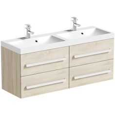 Orchard Wye oak wall hung double vanity unit and basin