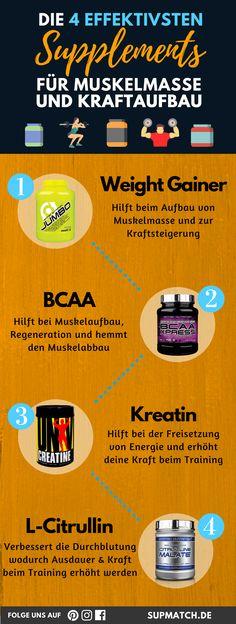 Die 4 effektivsten Supplements um Muskelmasse und Kraft aufzubauen.