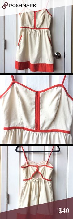 """White + Red Linen Contrast Trim Dress Linen Contrast Trim Dress with Pockets. Adjustable Straps & Cinched Back Detail. COPE by Urban Outfitters.  [As seen on Ariana Grande in Victoria Justice's """"Make It In America"""" Video] Urban Outfitters Dresses Mini"""