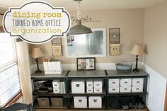 Dining Room Turned Home Office {How to Organize}