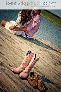 Good idea for an engagement picture if the guy had his boots too!