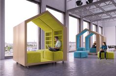 tree house furniture by malcew provides a place for contemplation and focus. designed specifically for a co-working office space Modular Furniture, Office Furniture, Furniture Design, House Furniture, Library Furniture, Furniture Layout, Furniture Stores, Cheap Furniture, Furniture Websites