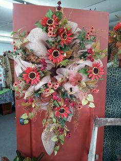 Silk fall ~ burlap wreath