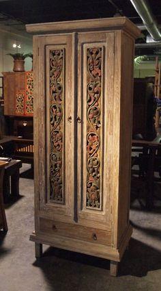 Painted Carved Panel Teak Cabinet | Gado Gado