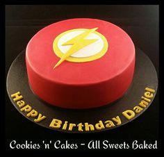 Superhero flash cake. www.facebook.com/CookiesnCakes.AllSweetsBaked ♡