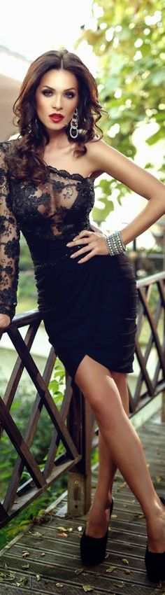 Dem Hot: Gorgeous Babe Looking Hot In Sexy Black Lace Dress...