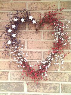 RedWhite & Blue Wreath /  Heart  Wreath  by imaproudcrafter, $38.00