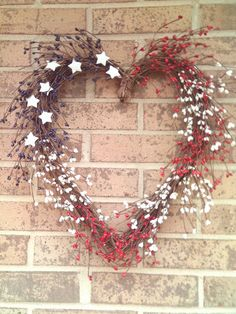 Patriotic Red, White, & Blue Berry Heart Wreath...OH MY GAHDDDDDD